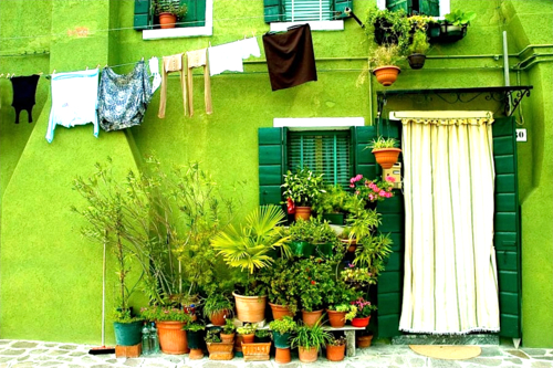 Green House in Burano, Venice, Italy