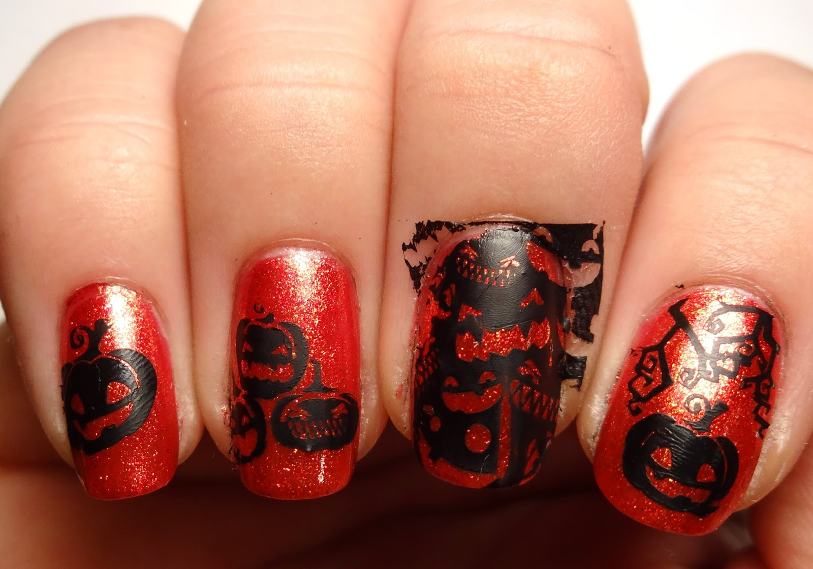 Stamped Pumpkin Nails