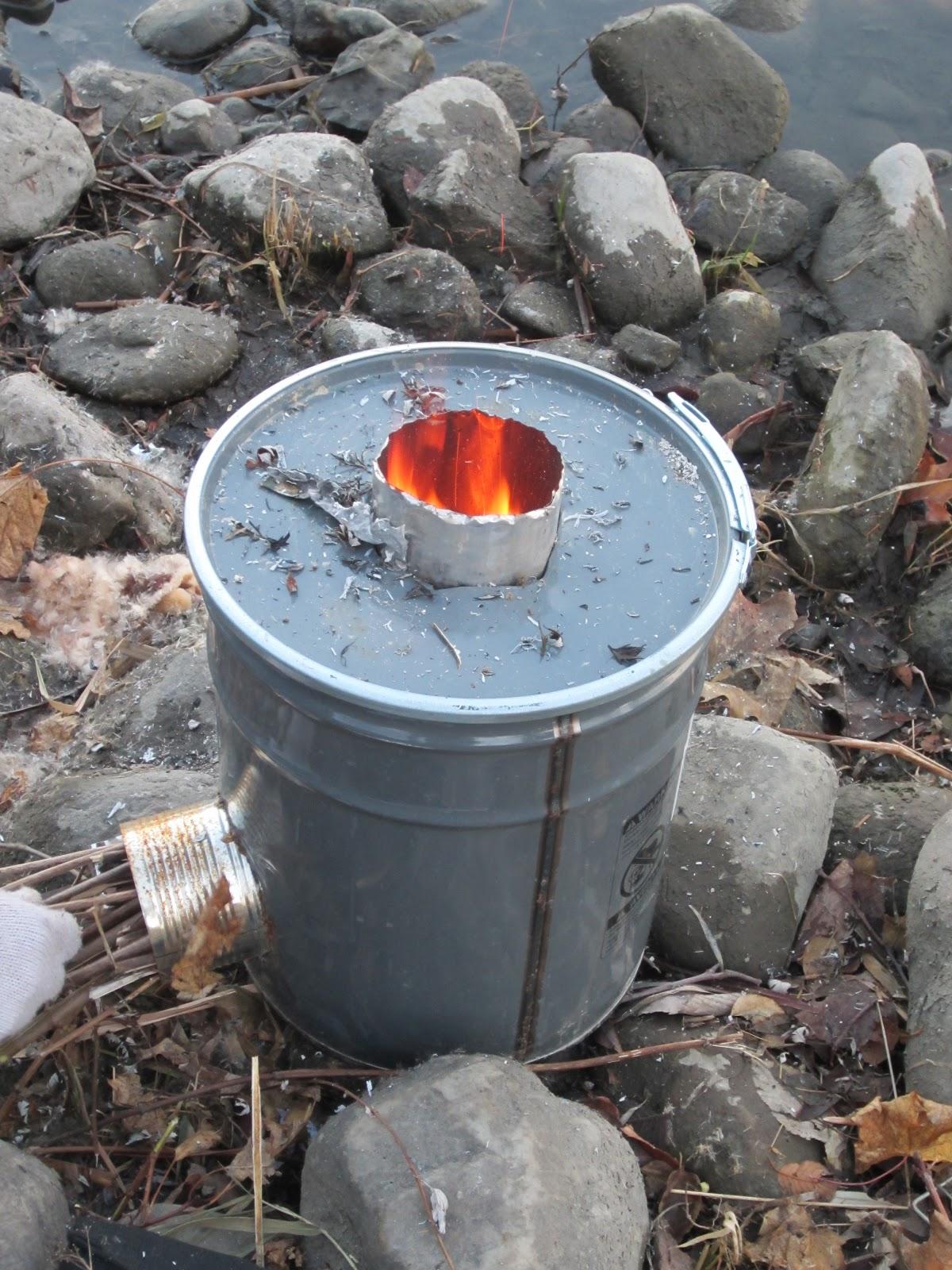 Unstuffed rocket stove for Rocket fire heater