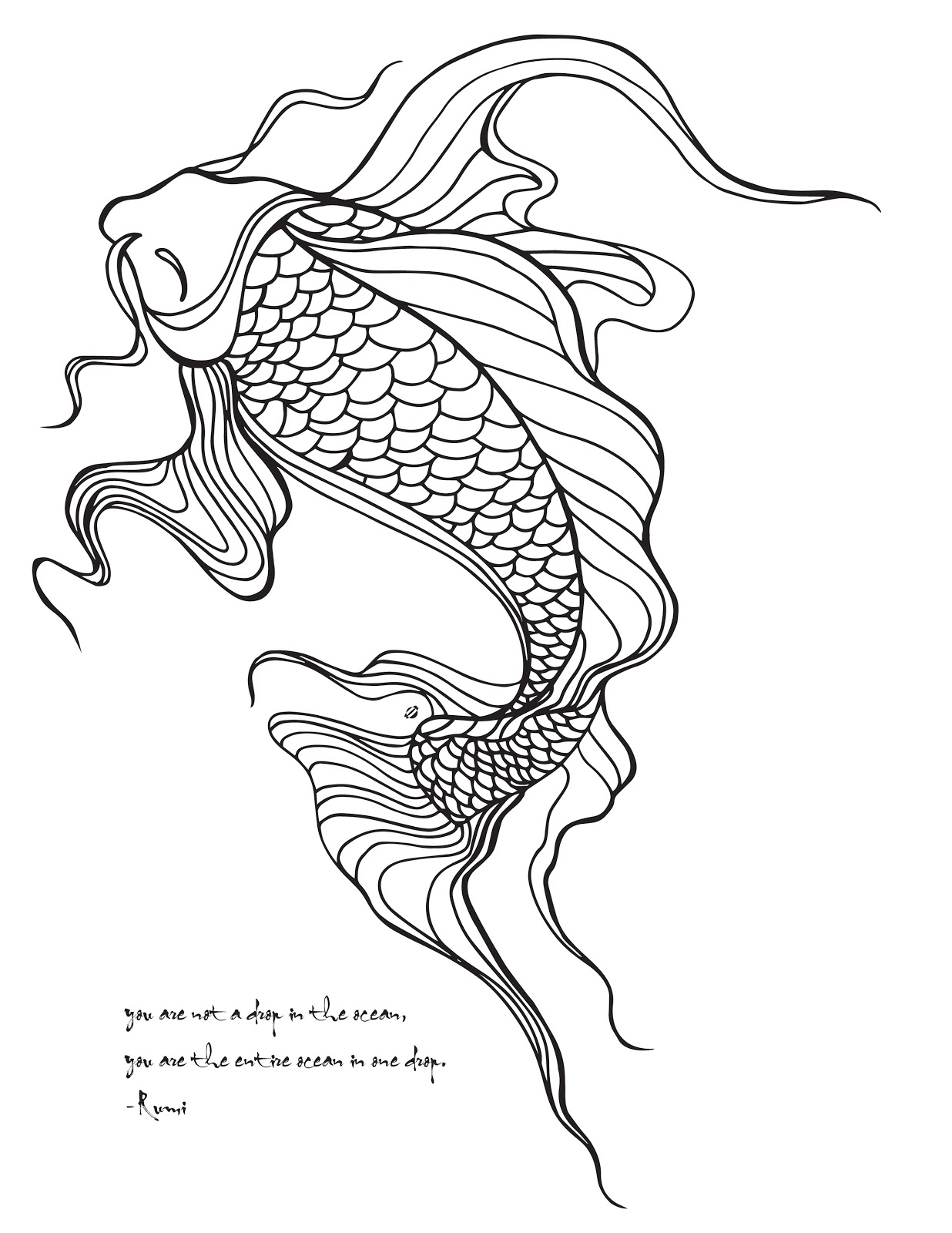 LostBumblebee ©2015 MDBN :: GROWN UP COLOURING / COLORING SHEETS :: KOI FISH ::  Free Donate to download Printables :: Personal Use Only.