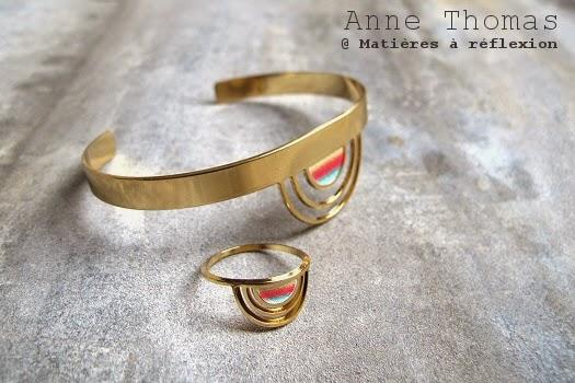 Bague graphique et colorée Anne Thomas bijoux dorés Sunset plaquée or