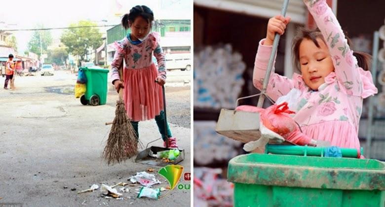 Lihatlah Gadis 5 Tahun ini Membersihkan Jalanan