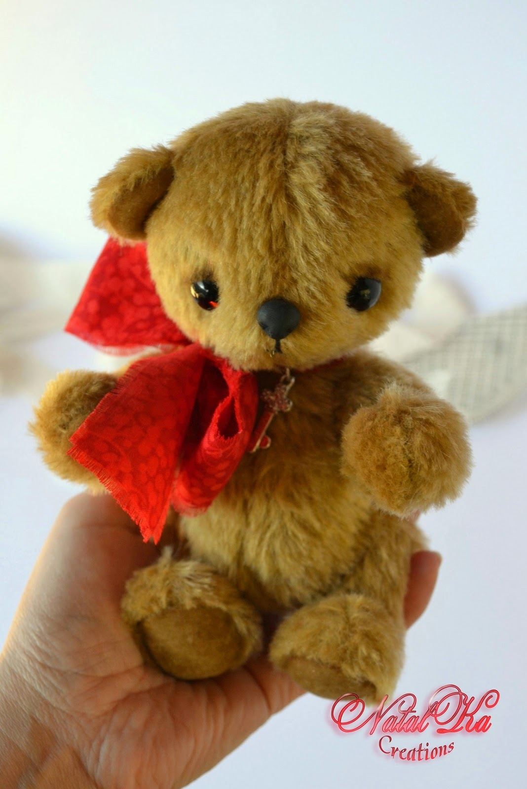 Artist teddy bear handmade by NatalKa Creations.