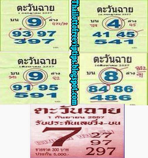 Thai Lotto Exclusive Single Digit 01-09-2014