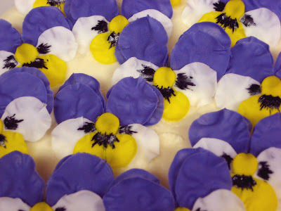 Pansy Flower Cake - Close-Up of Pansies