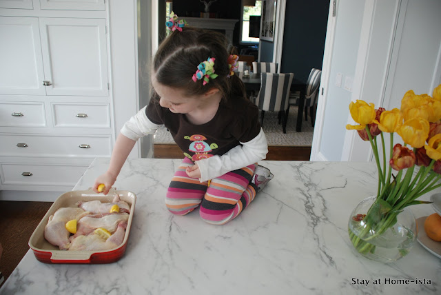 making roast engagement chicken with kids