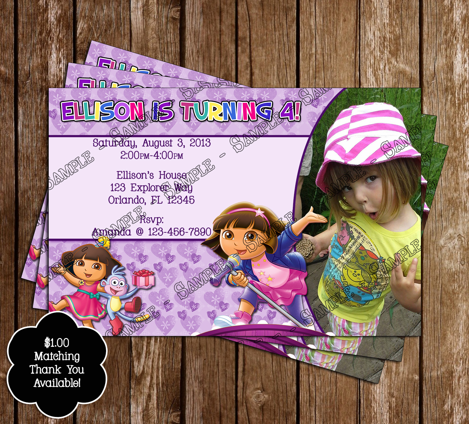 Novel Concept Designs: Dora the Explorer Birthday Invitations and ...