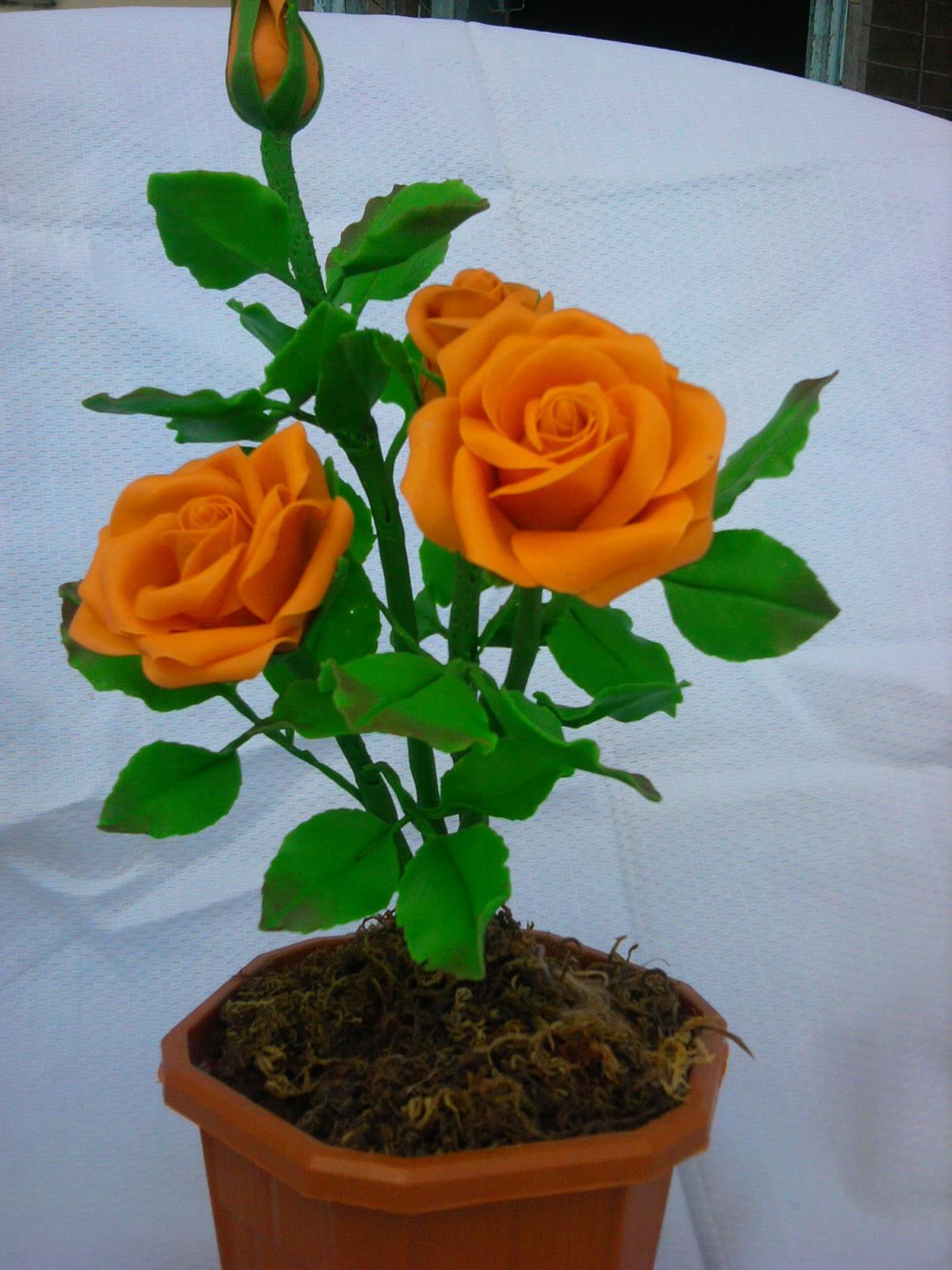 Handmade Blossoms: HAND MADE CLAY ROSE BLOSSOMS