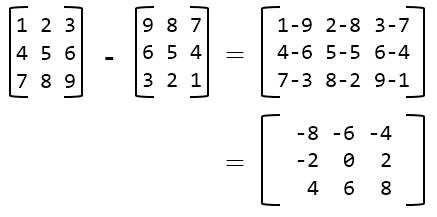 3x3 matrix subtraction