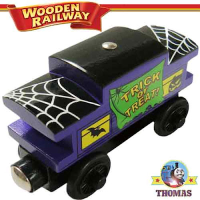 Happy Halloween Thomas the tank engine Caboose wooden railway set childrens toy Trick or treat gift