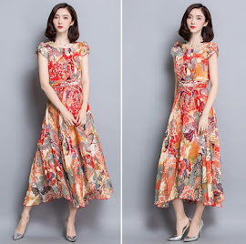New 2016 Short Sleeve Detail Oriental Print Past Knee Length Flare Chiffon Dress