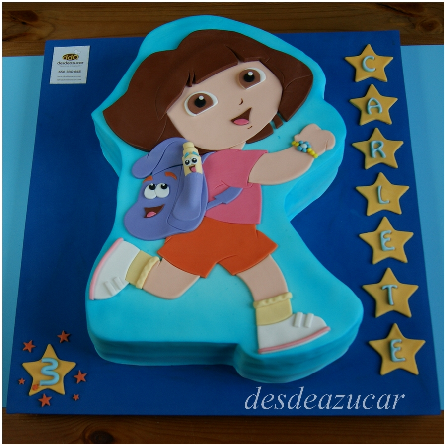 tarta fondant, 2D, tarta infantil, dora exploradora, tarta fondant dora exploradora, tarta dora exploradora, fondant Sevilla