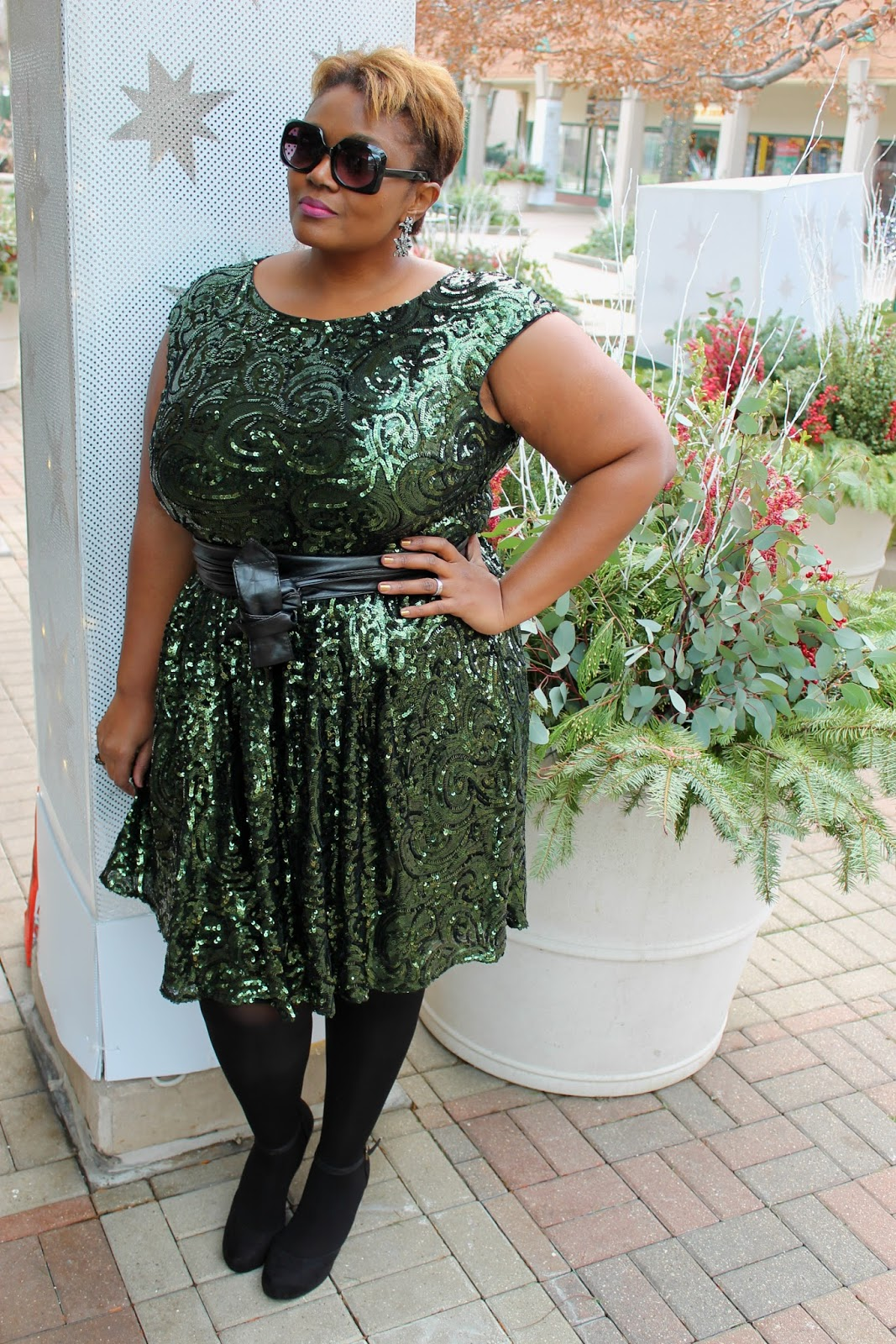 What I Wore} Sparkling Green Sequins | Curvatude™ - A Chicago Plus ...