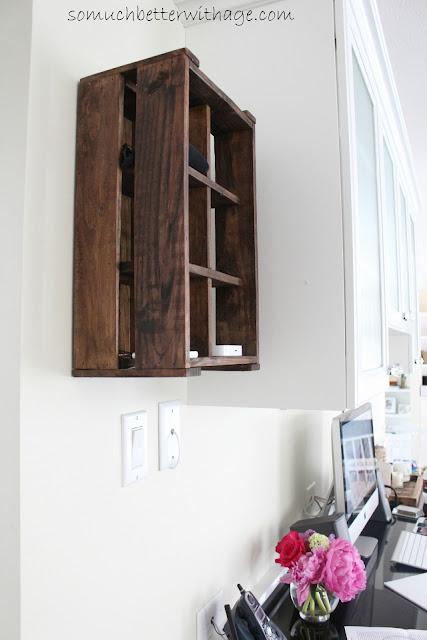 Kitchen Office www.somuchbetterwithage.com #kitchen #office #cabinet #charging station #iipod