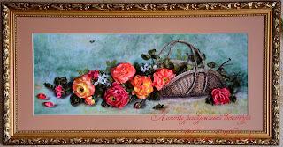 вышитые лентами картины вышитые розы в корзине