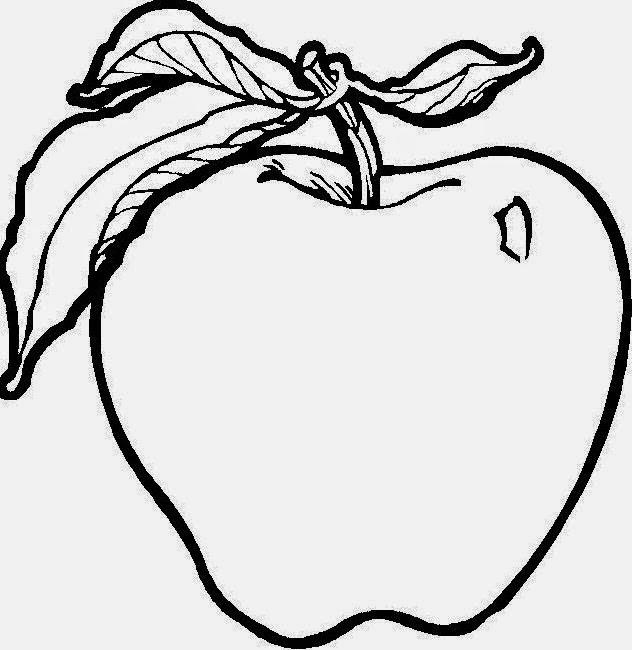 latihan mewarnai gambar buah apel gratis