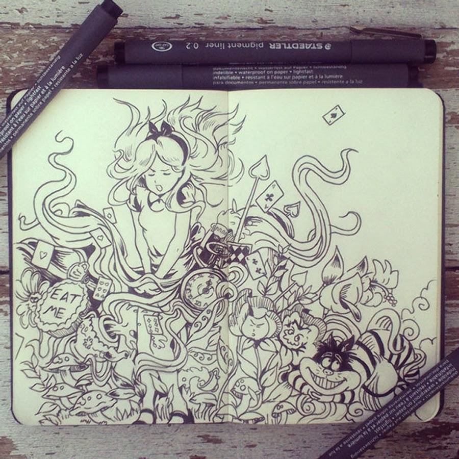 08-#26-Alice-in-Doodleland-365-Days-of-Doodles-Gabriel-Picolo-www-designstack-co