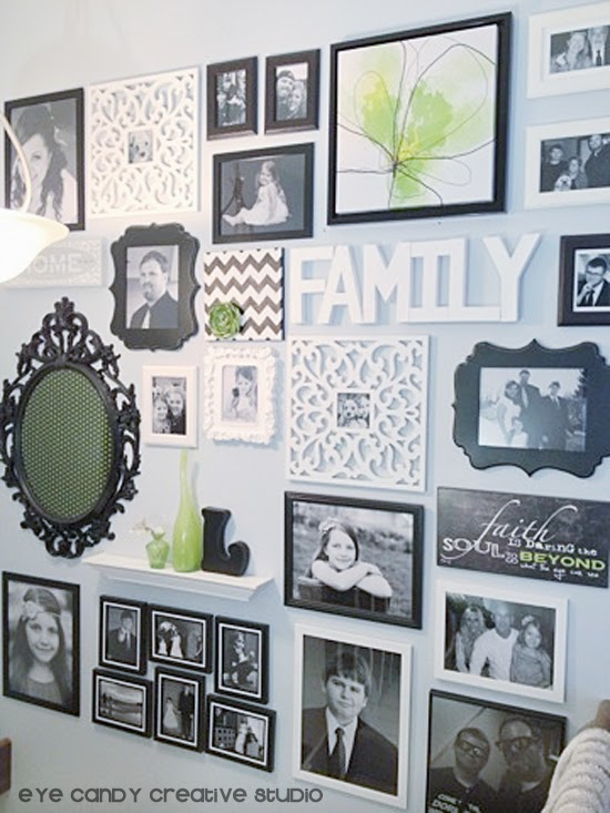 completed photo gallery wall, black and white photo wall, family