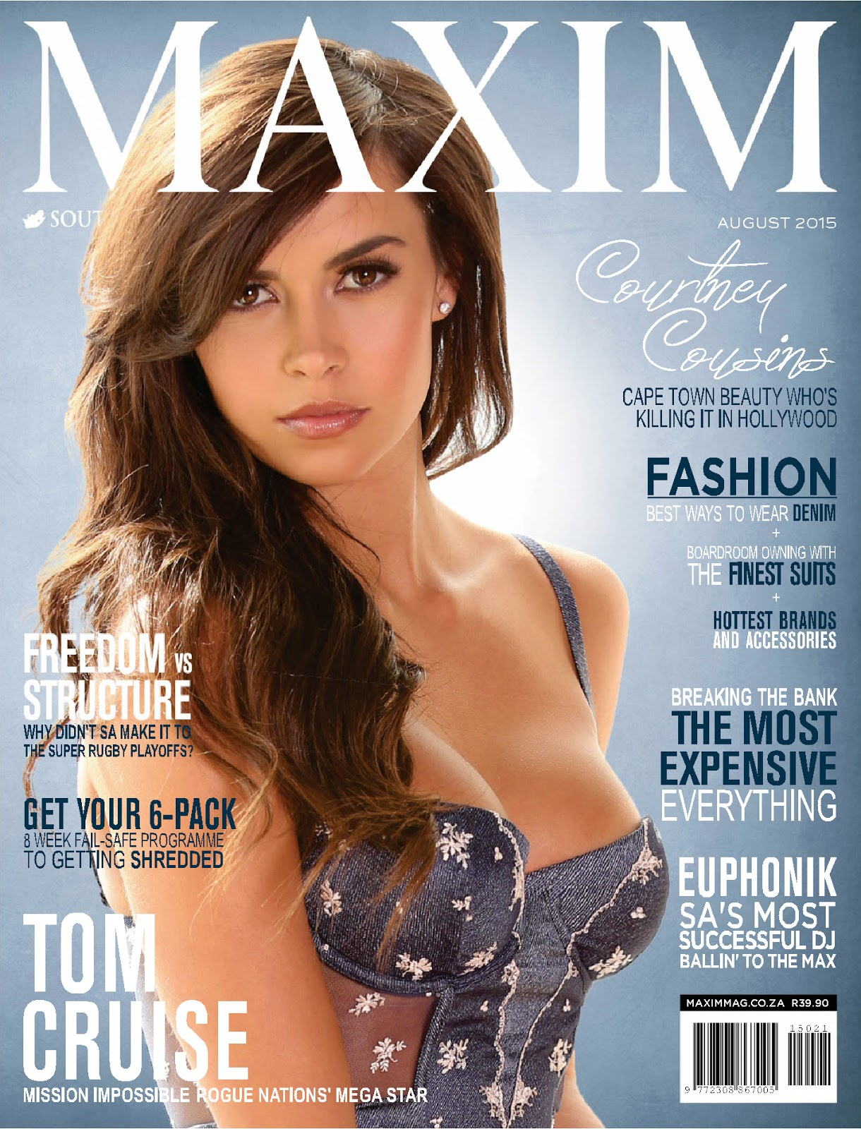 Courtney Cousins strips to lingerie for Maxim South Africa August 2015