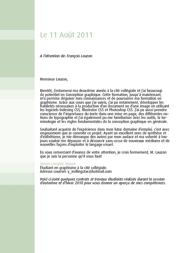 Exemples travaux et contrats: Lettre de présentation