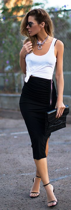 Black Zip Detail Pencil Midi Skirt #summer #street