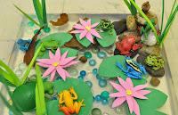 http://funprojectsforyourkids.blogspot.com/2015/05/frog-pond-sensory-bin.html