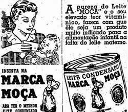 Propaganda do Leite Moça que fazia substituição ao leite materno, em 1949.