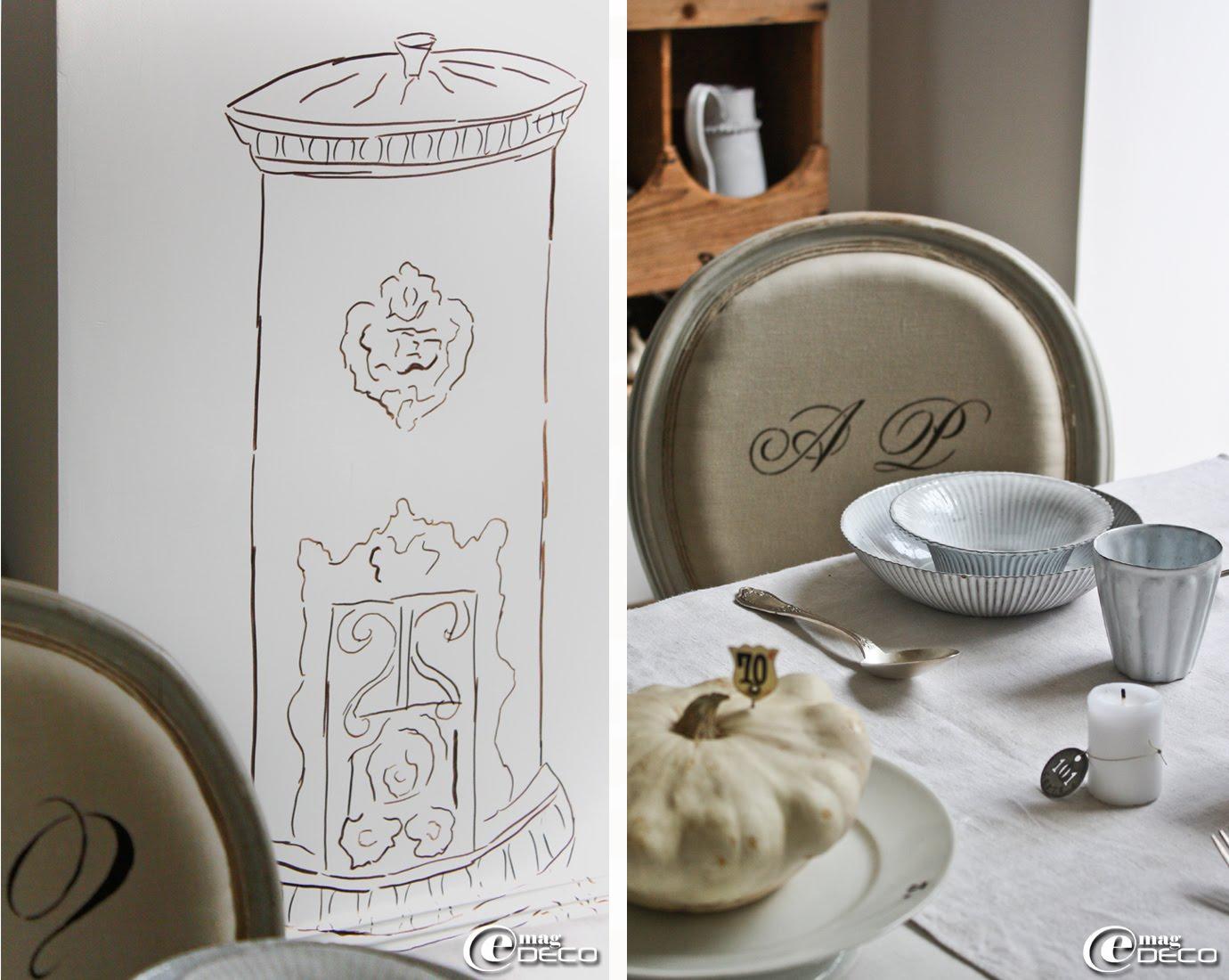 Idée déco : le dessin d'un poêle à bois de style rétro habille le mur d'une salle à manger
