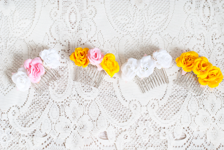 easy diy floral hair comb
