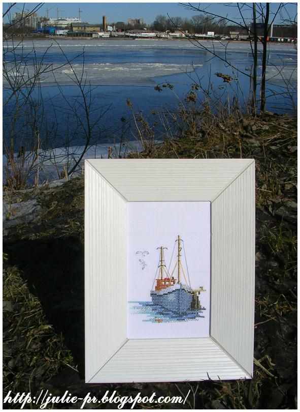 Fishing Boat Derwentwater лодка рыбака дервенвотер вышивка cross stitch
