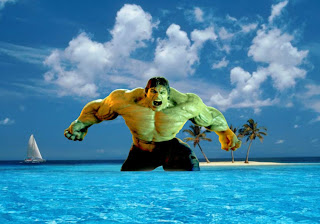 Hulk Free Wallpapers Incredible Raging Fury in Blue Island background