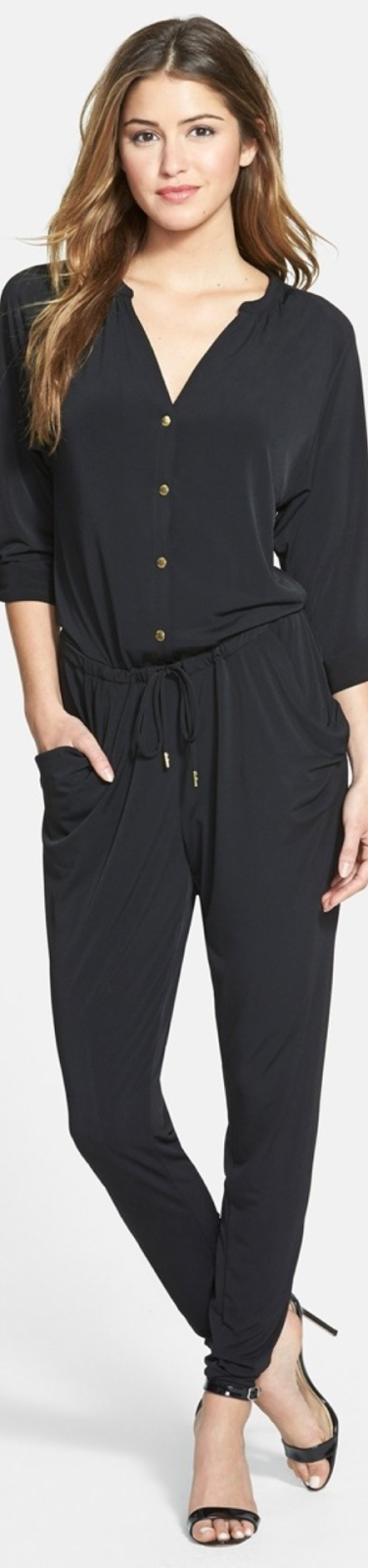 Michael Kors Shirred Roll Sleeve Jersey Jumpsuit