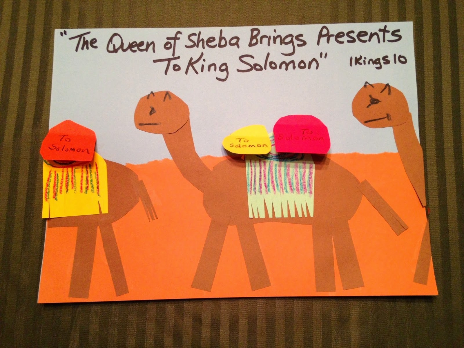 Children 39 s bible lessons lesson the queen of sheba for King solomon crafts for preschoolers