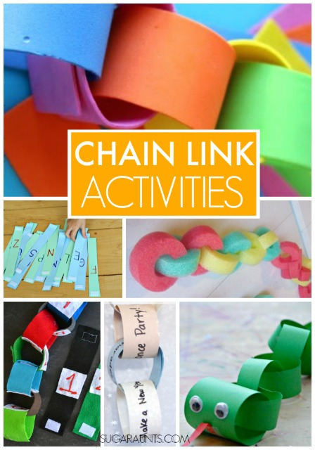 Chain link activities and crafts for kids with learning letters, numbers, and even counting down to special events!