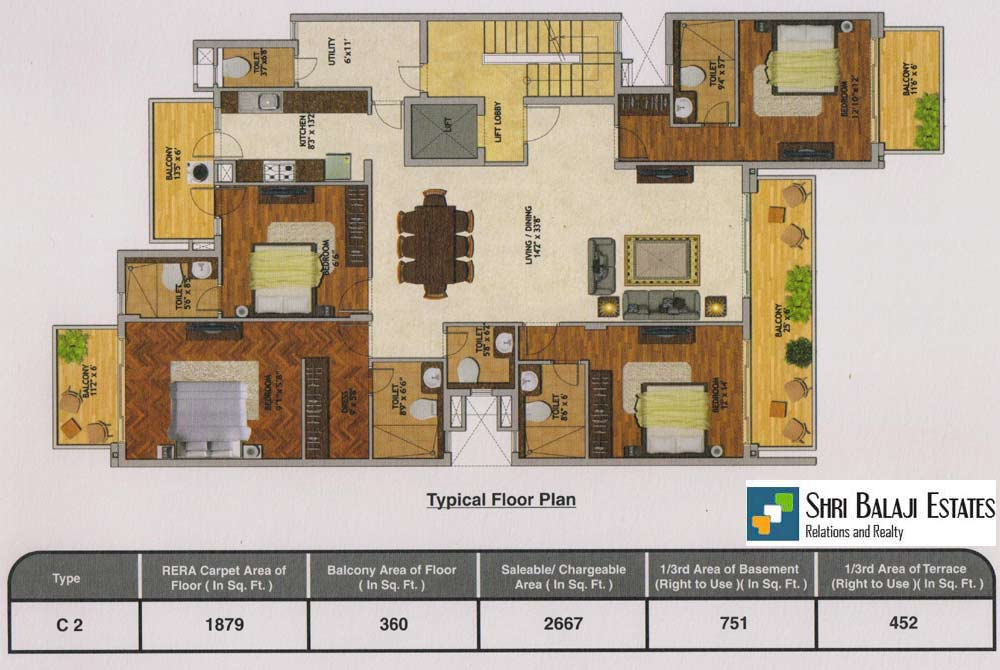Floor Plan  ( 4BHK + SR - C2  )