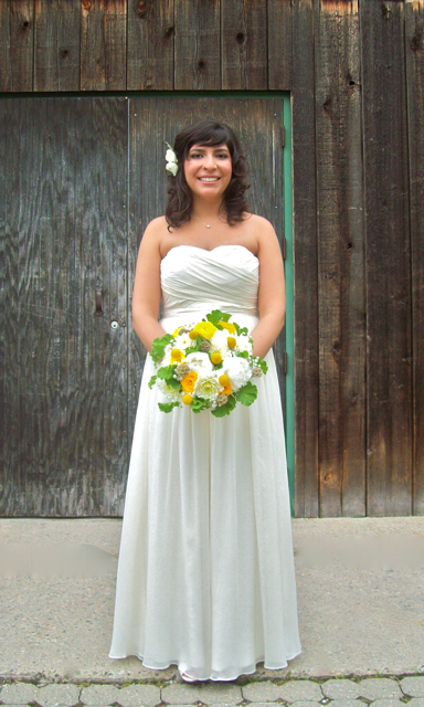 yellow white and green brides bouquet, cobblestone farms, barn, wedding,sweet pea floral design ann arbor, ferndale, detroit, misty farms, boutonniere, craspedia, scabiosa, leucadendron, yellow, green, anthropology, fern, woodsy, barn, nature, once wed, style me pretty, wedding, boutonniere, groom flowers, florist