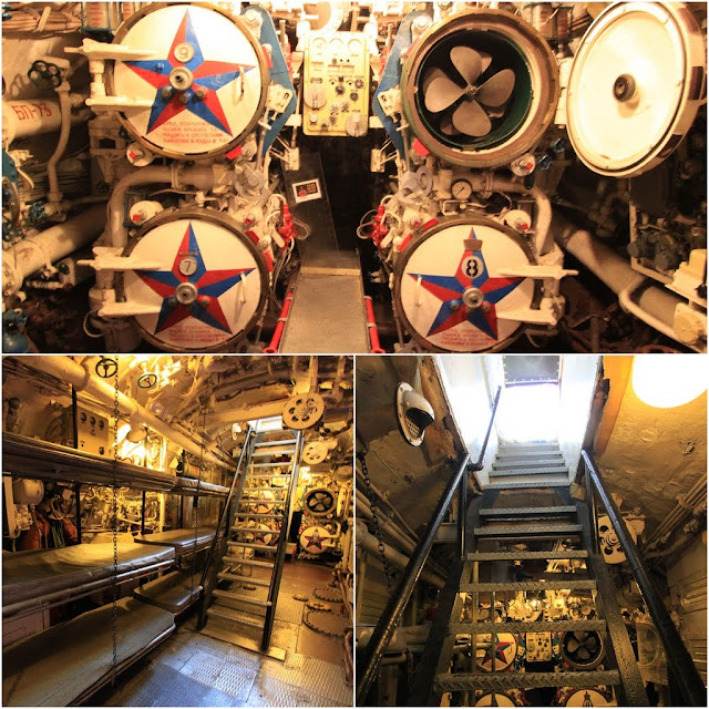 Coming to the end of the self guided tour with more torpedo tubes in this room of the Russian Scorpion Submarine at Long Beach, Los Angeles, California, USA