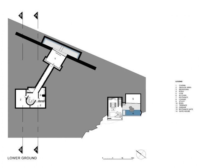 Lower Ground floor plan of the villa sow