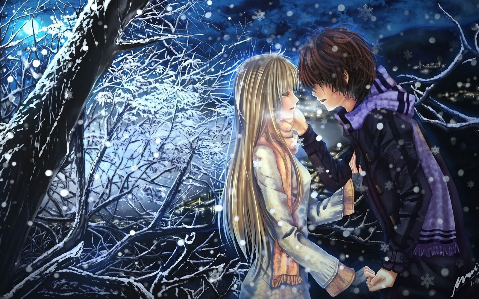 Anime Boy Girl Couple In Love HD Wallpaper