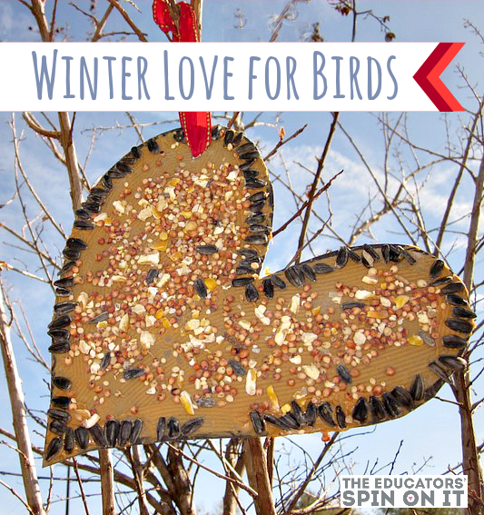 Heart Birdseed for Winter Birds from The Educators' Spin On It