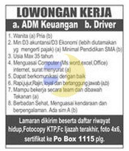 Lowongan Kerja ADMIN Keuangan & Driver