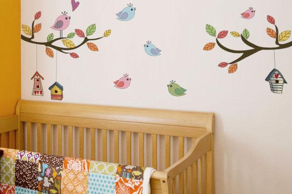 Decoração do quarto do bebê com adesivos de parede  ~ Adesivos De Parede Para Quarto De Bebe Feminino