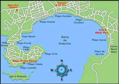 Acapulco mapa de las playas, turismo