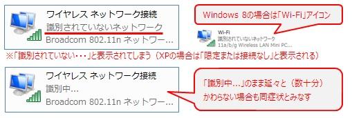 ワイヤレスネットワーク接続アイコン(Wi-Fiアイコン)に「識別されていないネットワーク」と表示されている
