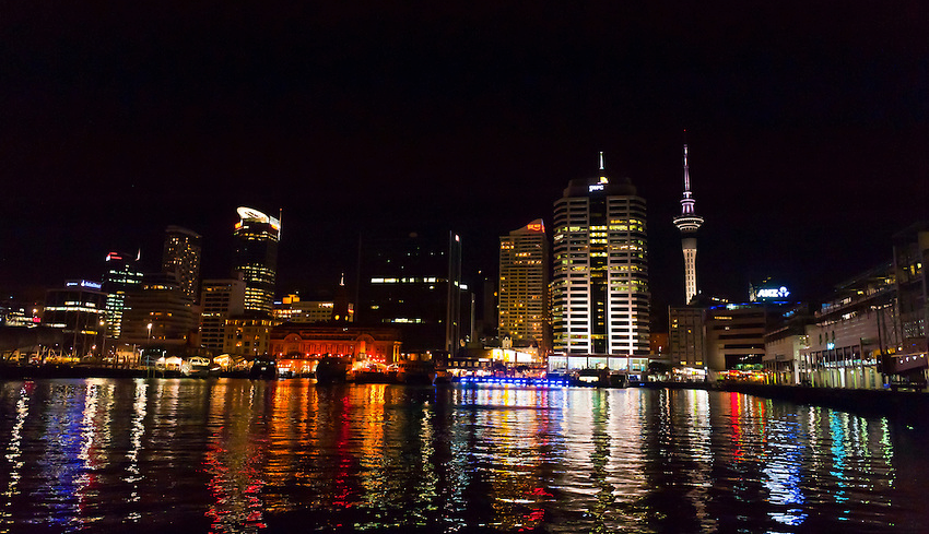 View of the Sky Tower from North Wharf, Auckland