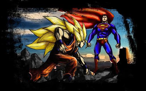 Super man vs son goku super saiyan 3 fighting hd wallpaper