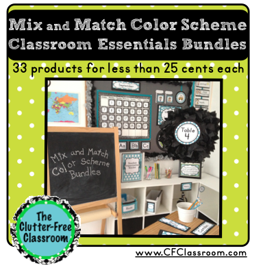 Clutter - Free Classroom Decor Color Scheme Printables Design Decorations Set-Up Patterns Organized Organization Bulletin Boards Back to School Name tags Deskplates Editable polka dots chevron red orange yellow green blue purple hot pink aqua lime black grey gray white stripes theme supply labels behavior clip chart schedule cards numbers calendar clock helper teacher binder lesson plans alphabet ten frames word wall basket labels table team work dismissal chart cards where are we specialists welcome pennant clip art math resources bookmarks hall passes
