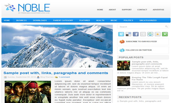 Noble 2 Column Blogger Template