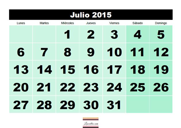 Captura de pantalla de calendario 2015 mes por página