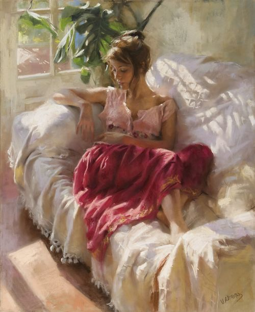 Vicente Romero pinturas mulheres impressionistas beleza No sofá tomando um banho de sol